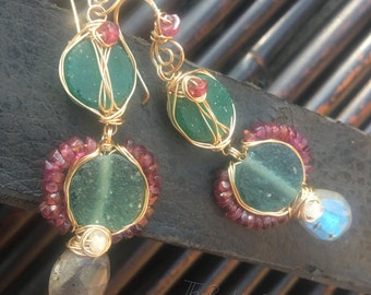 Ready to Ship, Roman Period Delight, 14K GF, Roman Glass, Garnet, Moonstone, and Labradorite earrings, ThePurpleLilyDesigns