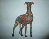 Linen Grey Hound Fabric Quilt Block 9""