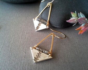 Tribal, Geometric, Sterling Silver and 14kt Gold-Filled, Mixed Metal, Triangle Earrings, Native American Made, Labradorite, Minimalist