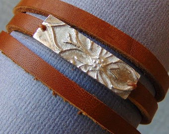 Cactus Flower Triple Leather Wrap Bracelet - Sterling Silver and Caramel Brown Leather - Native American - Southwest Gift - Desert Boho