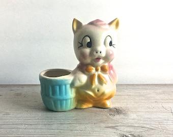 Vintage Ceramic Porky Pig Toothpick Holder Pink Blue