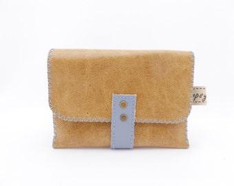 Leather Wallet / Slim Credit Card Holder / Business Card Holder / Light Caramel and Light Blue Leather