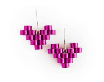 Pink Heart Earrings - Romantic gift for her - 1st anniversary gift for her - First wedding anniversary gift for wife - Paper gift