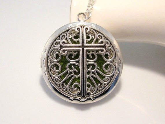Green Stained Glass Gothic Cross Locket Available with Custom Colors