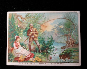 Victorian Trade Card for J P Coats Thread, 1880's Calendar