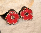 FOR Olivia1166- 4 handmade flowers charms for earrings or necklace + 2 cabs for rings - high fired  ceramic clay pottery supply