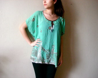 Mint Green Oversized tunic top, sheer see tought top, one size fits all Medium Large XL 2xl Green night on the city