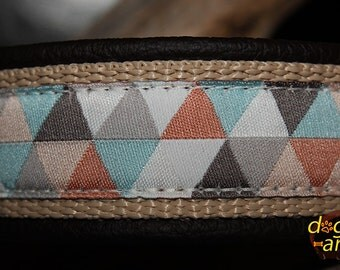 "Dog Collar ""Chevron"" by dogs-art, dog collar, brass dog collar, brass collar, martingale collar, leather dog collar, chevron dog collar, dog"