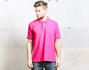 90s Vintage FILA Polo Shirt . Menš Bold Pink 1990s Men's T-Shirt Boyfriend Gift . size Medium M