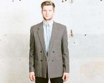Houndstooth TWEED Wool Blazer . Vintage Mens 1970s Jacket Preppy Style Ivy League Retro Grey Wool Sport Coat . Medium