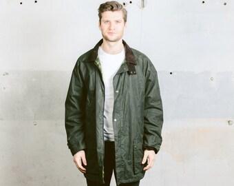 Vintage WAXED Parka Jacket . Mens 1980s British Hunting Wear Dark Green Coat Wax Men Oilskin Canvas Plaid Lining Coat . size XXL