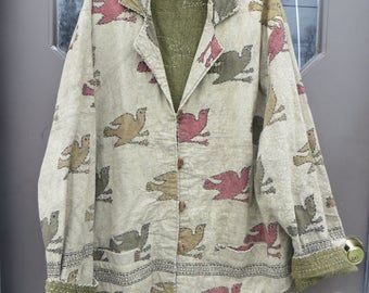Vintage  1990  Indie    cotton embroidered   colorful folk art birds  jacket with wood toggle buttons  by Chicos design  xlarge