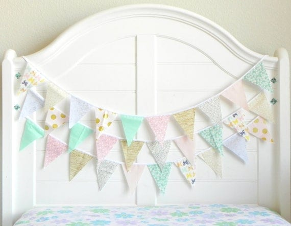 Pink Aqua and Peach Bunting Garland