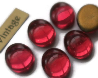 Vintage Glass Cabochons Pink Dome Fuschia 10x12mm Oval NOS Flat Bottom (978K )