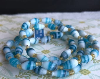 6mm Vintage Glass Beads, Beaded Necklace, Oval Beads, rice beads, Blue Swirl Peppermint Candy NWT #1301