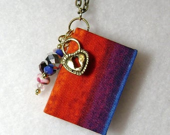Librarian - Handmade Book Necklace - Book Jewelry - Book Pendant - Book Journal - Handmade Book - BN-48