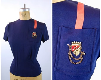 40s Navy Blue Rayon Blouse // Crest Shield Breast Pocket  - Mel Hahn and Gilbert Creation size 32 // Patriotic