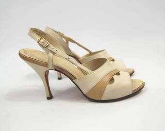 1950s / 1960s Tan and Ivory Leather Stilettos - Slingback Open Toed Pumps - Beige and Ivory // Size 8AAA Narrow