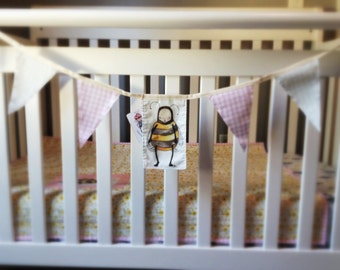Bunting Wall Art Nursery Decor Bumble Bee