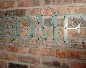 Home, wall art, Distressed Turquoise Home Word Swirled Metal Wall Decor, gift ideas, metal decor,