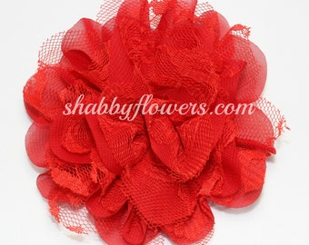 Red Chiffon & Lace Flower, Baby Girl Flower, 4 inch flower, Headband Supplies