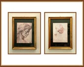 Michelangelo Framed Prints, Pair, Face of Women, Young Lady,  Made in Italy, Florence, Vintage 1997