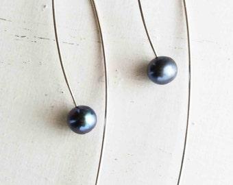 Blue Fresh Water Pearl Earrings, Sterling Silver Floating Pearl Earrings, Arc Threader Earrings, Drop Earrings, Open Hoops, Dangle Earrings