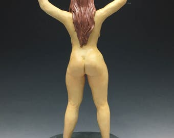 Custom Ceramic Figure Sculpture, Standing Nude Woman Figurine, Erotic Mature Art