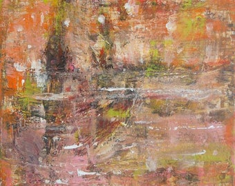 Starry -Abstract Impressionist Landscape Scenery Original Painting Fine Art, Night City, Acrylic, Monet Style, Pastel, Orange, Pink, Impasto
