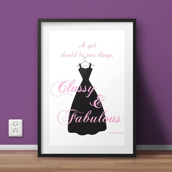Coco Chanel Quote, Wall Art Print, Coco Chanel Print, Fashion print, Coco Chanel poster, A girl should be two things, Quote Poster