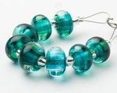 Pacific Spacer Swirl - Handmade Lampwork Glass Beads by Sarah Downton