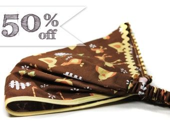 50% off - Retro Kerchief, Brown Head Scarf, Kerchief Headwrap, Farm Animal Headband, Brown Girl's Kerchief (#3223) S Sale