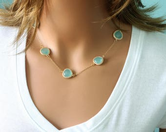 Multi Motif Necklace - Mint Blue Drop Necklace - Celebrity Inspired - Everyday Jewelry - Famous Brand Necklace - Trendy Necklace