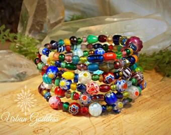 Murano Glass Beaded Memory Wire Wrap Bracelet - Rainbow Glass -  Colour Therapy ~ Urban Goddess