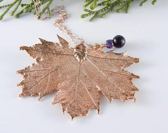 Rose Gold Maple Leaf Necklace, 30 inch
