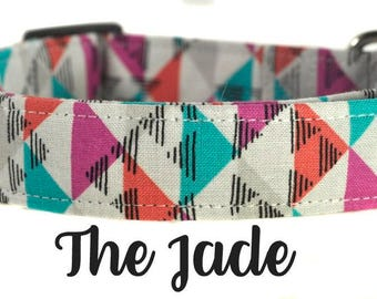 "Colorful Arrow Modern Dog Collar ""The Jade"""