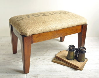 Upholstered Stool, Vintage Bench, Wood Footstool, Farmhouse Grain Sack Antique Stool