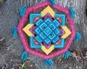 Tibetan blue, a 24 inch Ojo de Dios, in stock by I Savage