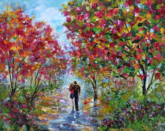 Spring Romance painting original oil landscape palette knife impressionism on canvas 24x20 fine art by Karen Tarlton