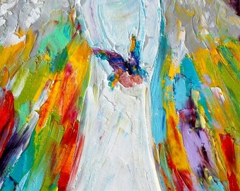 Angel and Butterfly painting in oil palette knife abstract impressionism on canvas 10x20 fine art by Karen Tarlton