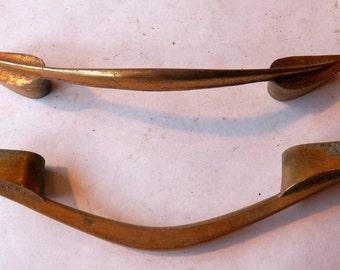 3 vintage brass drawer pulls, 3  inch centers, antique