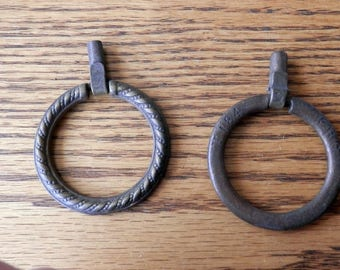 One (1) antique vintage nos ring only pull keeler brass co 2 inch dia