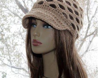 Crochet Newsboy  Hat  Summer Newsboy Beanie  Crochet Brim hat beanie, womens  hat  Billed beanie beige hat back to scholl hat