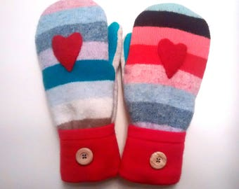 Color Stripe Heart Mittens, colorful mittens,  medium mittens, recycled sweaters, women's mittens, fleece lined mittens