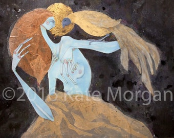 Large print mixed media woman with giant bird on her am surrounded by night