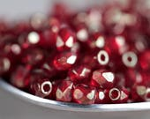 3mm Golden Ruby Czech Glass Beads, Czech Fire Polished beads, Faceted Glass beads (100pcs) NEW