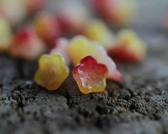 Bell Flower Czech Glass Beads, Baby Bell Flower Beads, Yellow & Raspberry, 5x8mm (50pcs) NEW