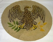 Reserved For Jeanie Vintage Hooked Rug Medallion Chair Pad With Eagle