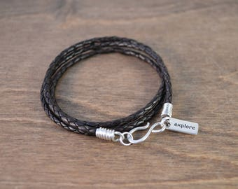 Explore - Inspirational Wrap Bracelet - 925 Sterling Silver & Braided Leather