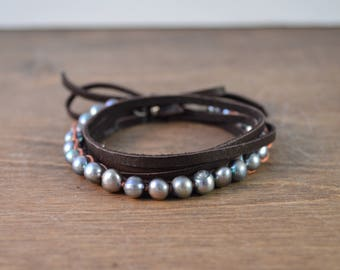 Pearl & Leather Wrap Bracelet / Choker / Long Necklace
